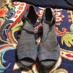 Toms Shoes - Toms chambray cork wedge sandals!